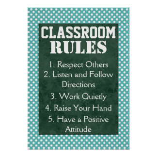 Blue and White Polka Dots Classroom Rules Poster