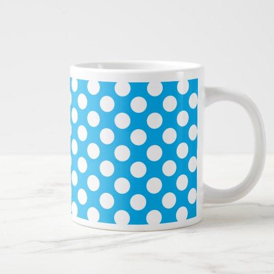 Blue and white polka dots large coffee mug