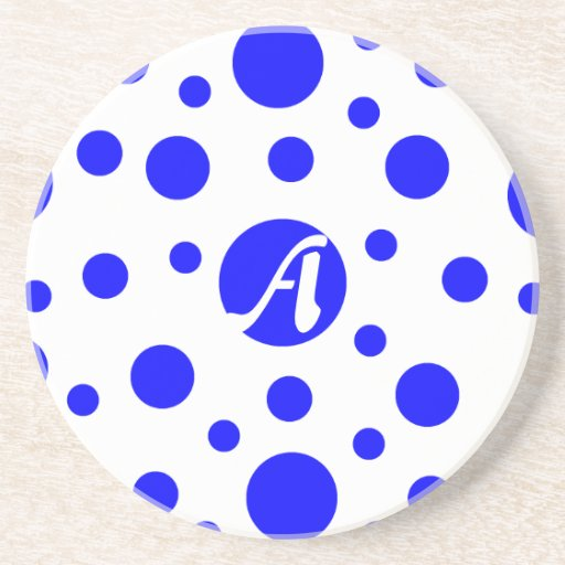 Blue and White Polka Dots Monogram Drink Coasters
