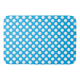 Blue and white polka dots pattern bath mat