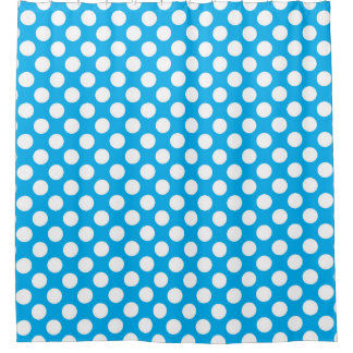 Blue and white polka dots pattern shower curtain