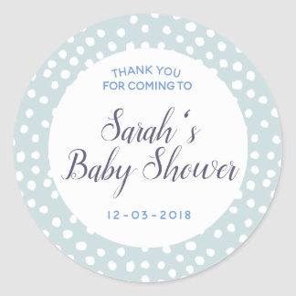 Blue and white polkadot baby shower sticker