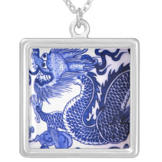 """Blue and White Porcelain Dragon"" Personalized Necklace"