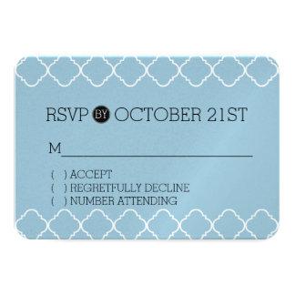 Blue and White Quatrefoil RSVP 9 Cm X 13 Cm Invitation Card