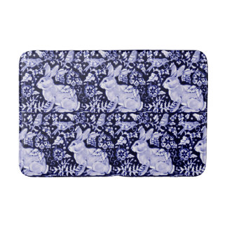 Blue and White Rabbit Bird Bath Mat Dedham Navy