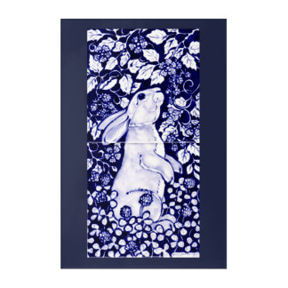 Blue and White Rabbit Tile Acrylic Wall Art 24x36