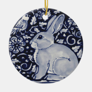 Blue and White Rabbit with Bird Tile Design Christmas Ornament