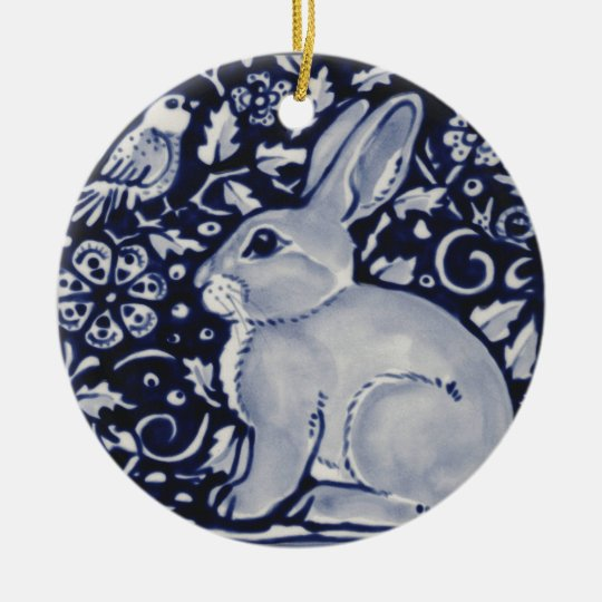 Blue and White Rabbit with Bird Tile Design