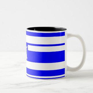 Blue and White Random Stripes Monogram Coffee Mugs