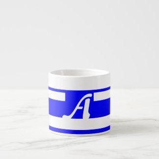 Blue and White Random Stripes Monogram Espresso Cups