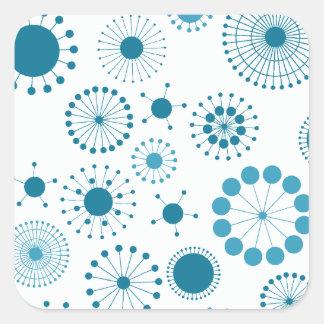 Blue and White Retro Circles Square Sticker