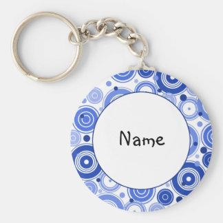Blue and white retro design basic round button key ring