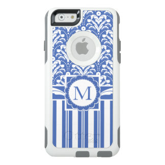 Blue and White Retro Floral and Stripes OtterBox iPhone 6/6s Case