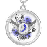 Blue And White Ribbon And Wings ALS Necklace