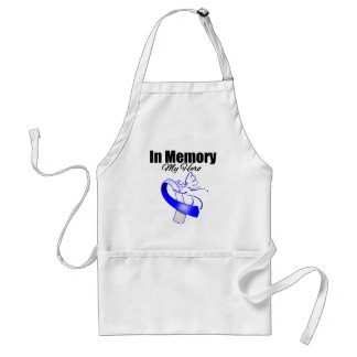 Blue and White Ribbon In Memory of My Hero Standard Apron