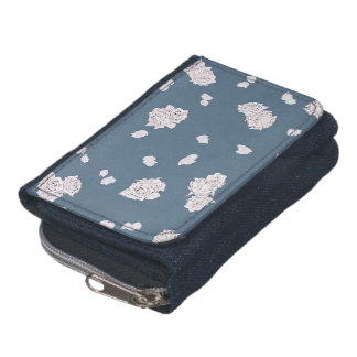 Blue and White Roses Wallet