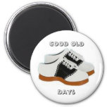 Blue and White Saddle Shoes, Good Old, Days Refrigerator Magnet
