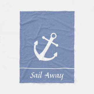 Blue and White Sail Away Nautical Blanket