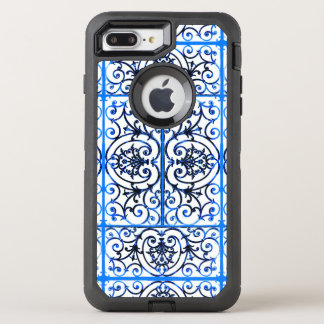 Blue and white scrollwork pattern OtterBox defender iPhone 7 plus case