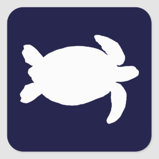 Blue and White Sea Turtle Square Sticker