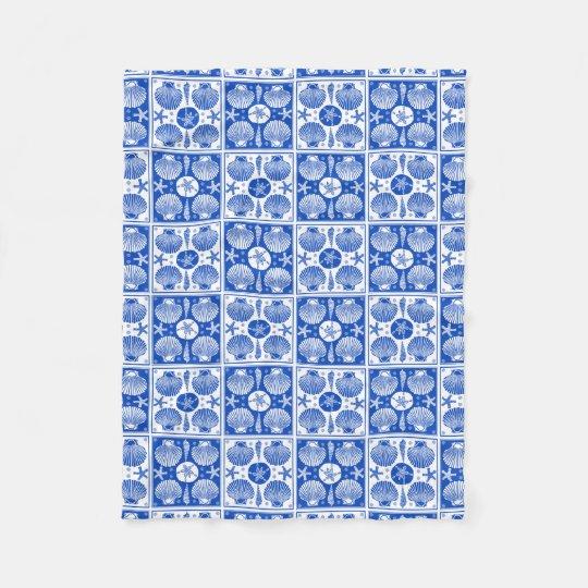 Blue and White Seashell Beach Block Pattern Fleece