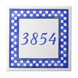 Blue and White Small House Number Small Square Tile