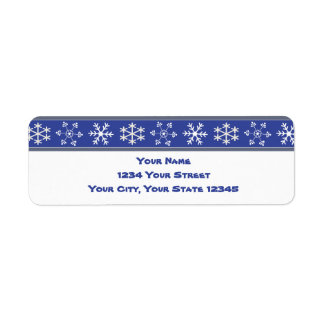 Blue and White Snowflake Address Label #HolidayZ