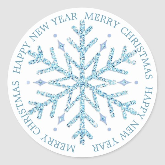 Blue and White Snowflake Christmas Stickers