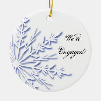 Blue and White Snowflake Engagement Christmas Ornament