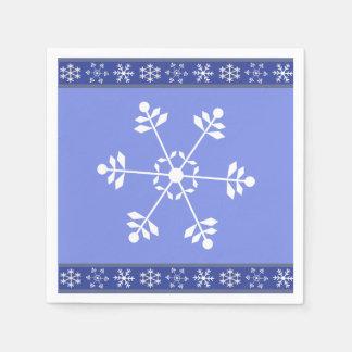 Blue and White Snowflake Napkin #HolidayZ Disposable Napkin