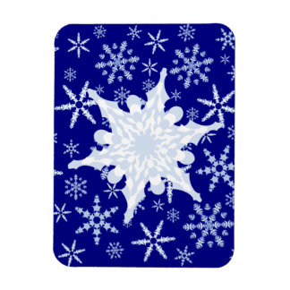 Blue and White Snowflake on Snowflake Blizzard Rectangular Photo Magnet