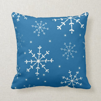 Blue and White Snowflake Pillow