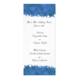 Blue and White Snowflake Reception Menu Personalized Rack Card