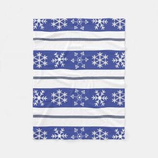 Blue and White Snowflake Throw Fleece Blanket