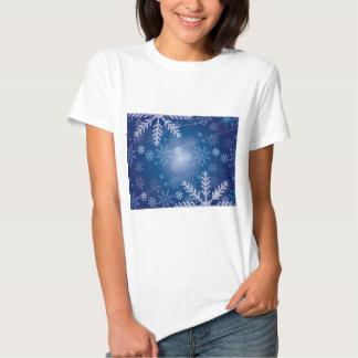 Blue and White Snowflake Winter Print Tees