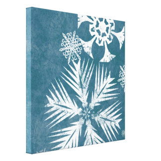 Blue and White Snowflakes Christmas Stretched Canvas Print