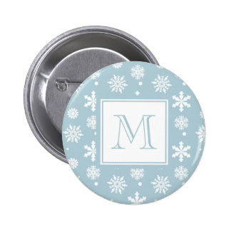 Blue and White Snowflakes Pattern 1 with Monogram 6 Cm Round Badge
