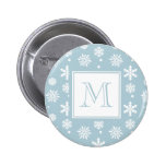 Blue and White Snowflakes Pattern 1 with Monogram Pin