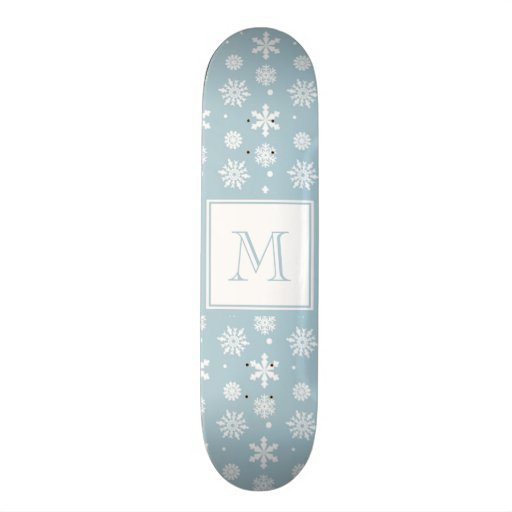 Blue and White Snowflakes Pattern 1 with Monogram Skateboard