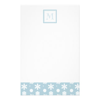 Blue and White Snowflakes Pattern 1 with Monogram Stationery