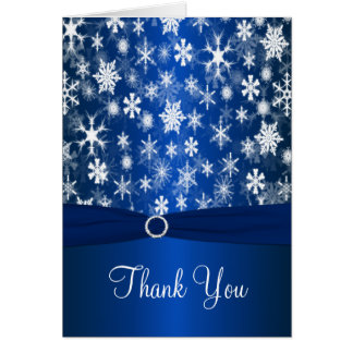 Blue and White Snowflakes Thank You Card