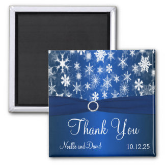 Blue and White Snowflakes Thank You Magnet