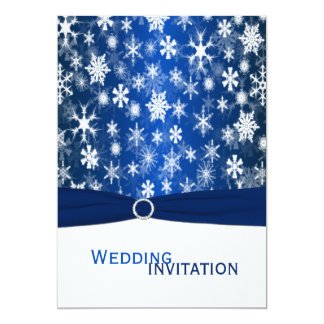 "Blue and White Snowflakes Wedding Invitation 5"" X 7"" Invitation Card"