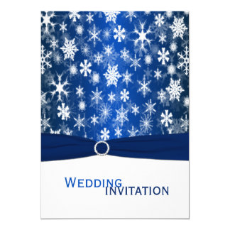 Blue and White Snowflakes Wedding Invitation