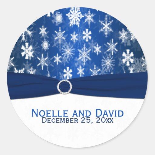 Blue and White Snowflakes Wedding Sticker