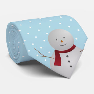 Blue and White Snowman Tie