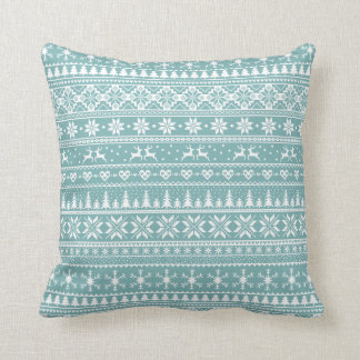 Blue and white snowy Alpine Christmas pattern Cushion