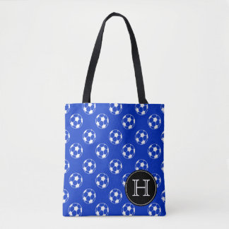 Blue and White Soccer Balls Monogram Tote Bag