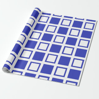 Blue and White Squares Wrapping Paper