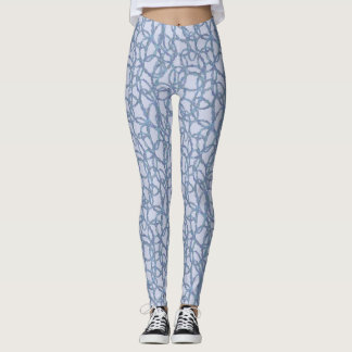 Blue and White Squiggle Graffiti Leggings
